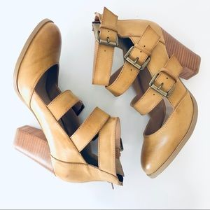 Altar'd State Leather Mustard Round Toe Heels